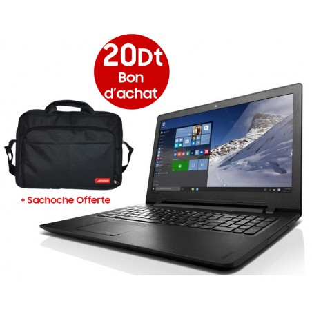 Pc Portable Lenovo Ideapad 110-15IBR / Dual Core / 2 Go + Bon d'achat 20 Dt + Sacoche