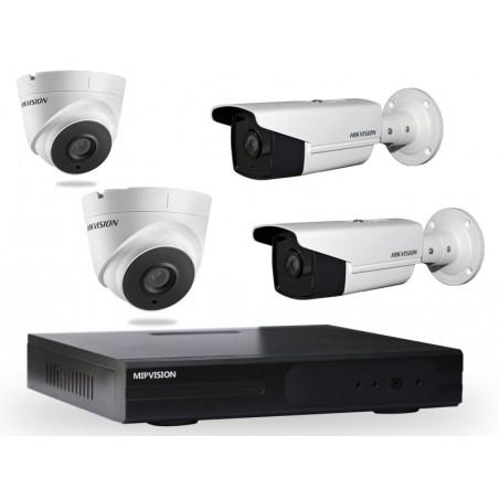 Kit DVR AHD 4 canaux + 2 Caméras Hikvision Externes + 2 Caméras Hikvision  Internes 2MP