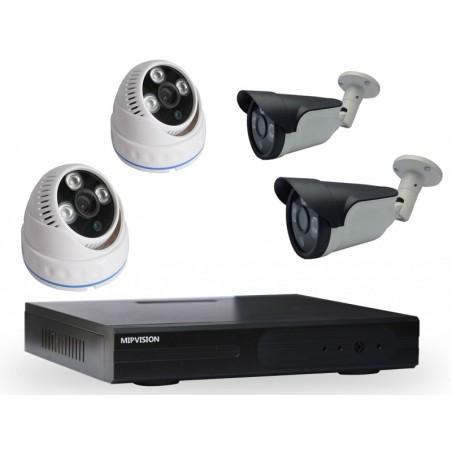 Kit DVR AHD 4 canaux + 2 Caméras MIPVISION Internes + 2 Caméras Externes 2MP