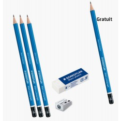 Ensemble 4xCrayons Noir + Taille Crayon + Gomme
