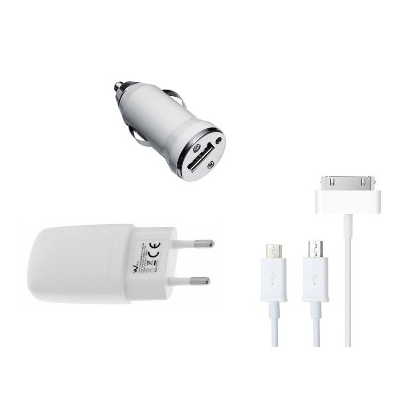 Chargeur Secteur USB + Chargeur Allume Cigare + Câble USB 3en1