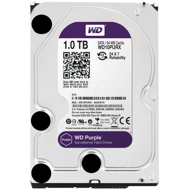"Disque Dur Interne 3.5"" Pour Video Surveillance Western Digital Purple 1 To"