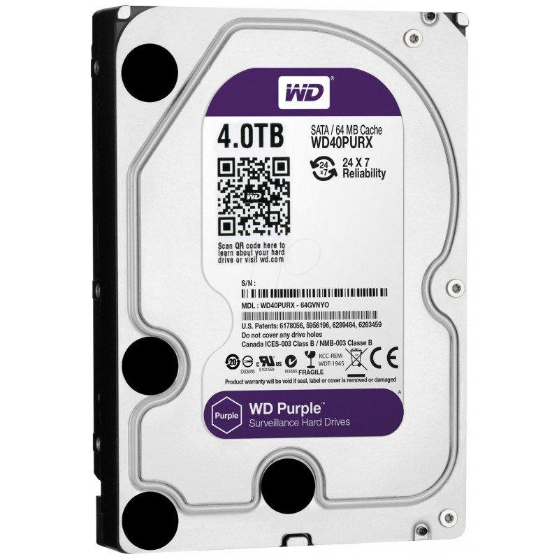 "Disque Dur Interne 3.5"" Pour Video Surveillance Western Digital Purple 4 To"