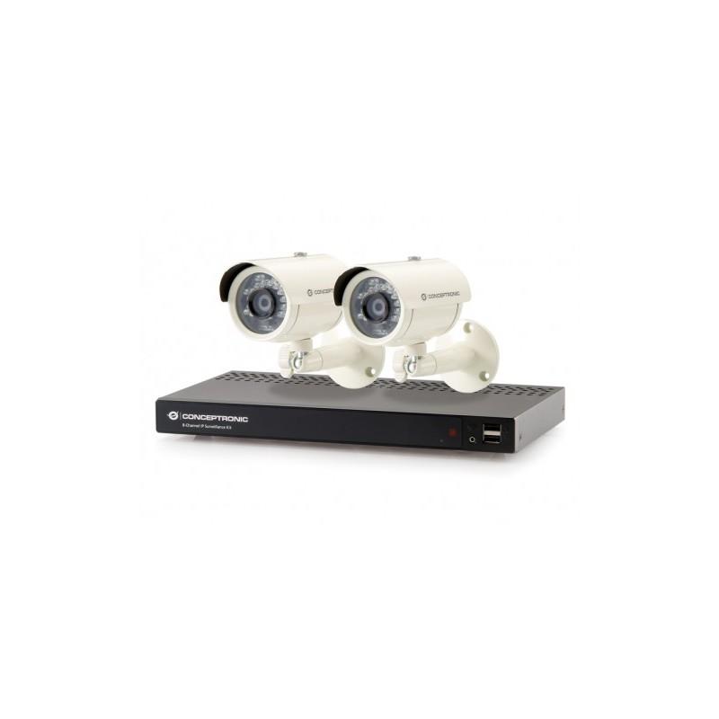 kit de surveillance ip 8 canaux 2 cam ras. Black Bedroom Furniture Sets. Home Design Ideas