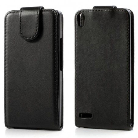 Etui en Cuir Pour Huawei Ascend P6 / Noir
