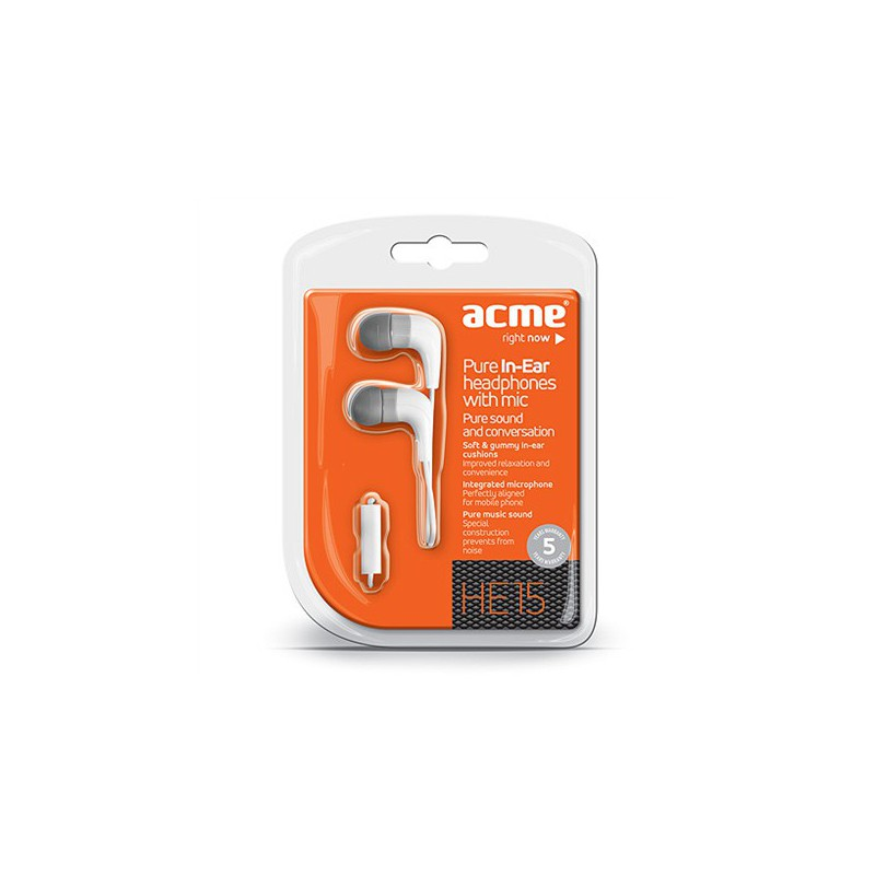 Ecouteurs intra-auriculaires avec micro ACME HE15W / Blanc
