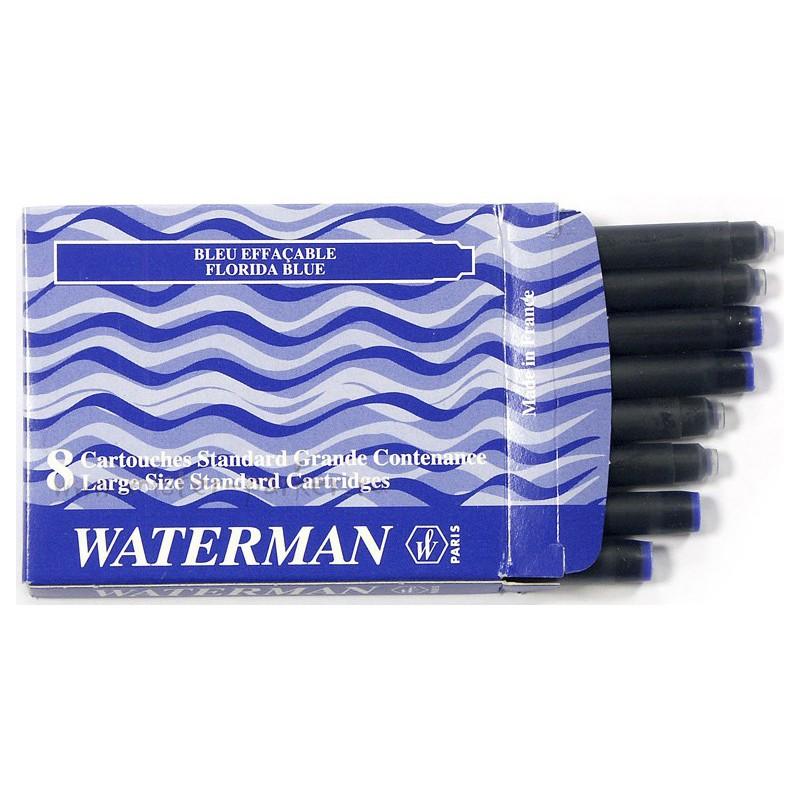 Boite de 8 cartouches standard grande contenance Waterman Bleu