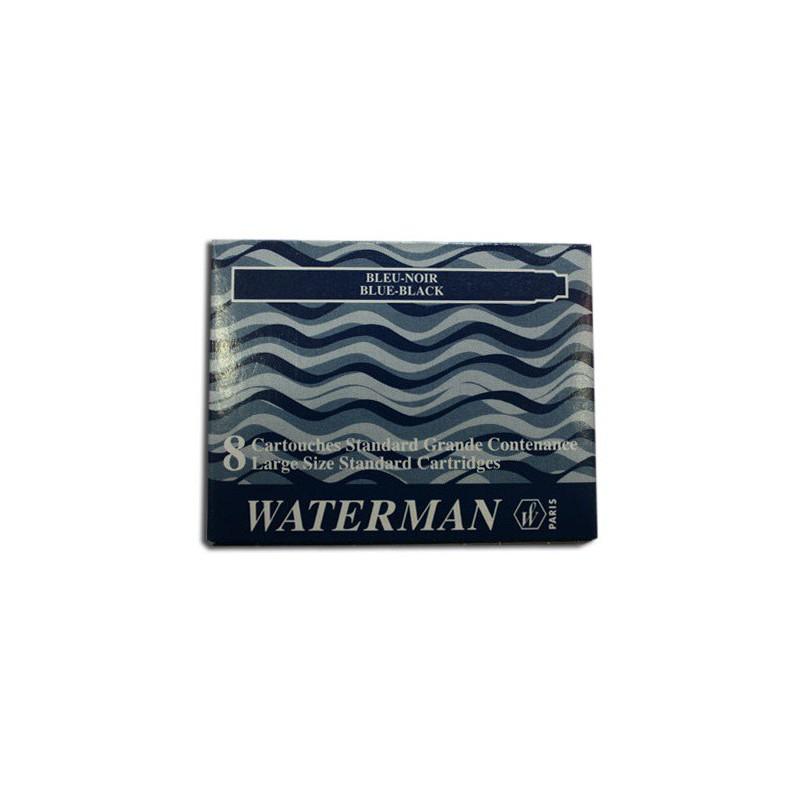Boite de 8 cartouches standard grande contenance Waterman Bleu/Noir