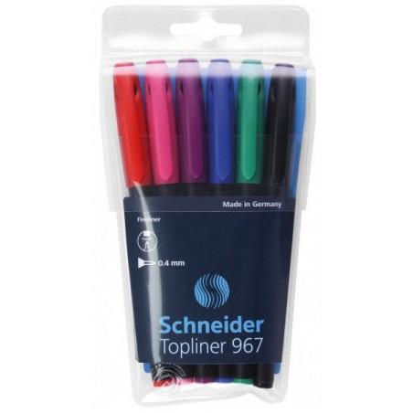 Pochette 6 × Feutres pointe fine Schneider Topliner 967