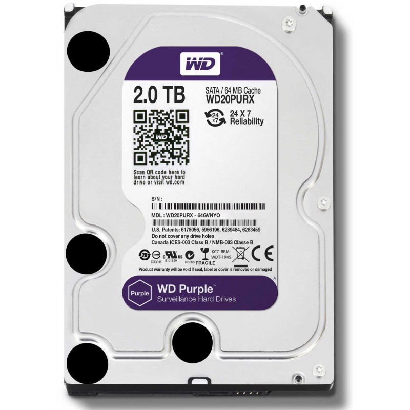 "Disque Dur Interne 3.5"" Pour Video Surveillance Western Digital Purple 2 To"