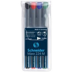 Pochette 4x Marqueur Permanent Schneider Maxx 224 M