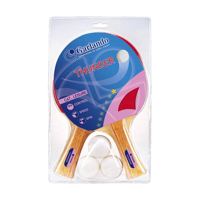 2x Raquettes Garlando Thunder 1* + 3 Boules