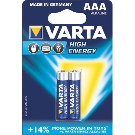 2x Piles AAA Varta High Energy LR03 BP2