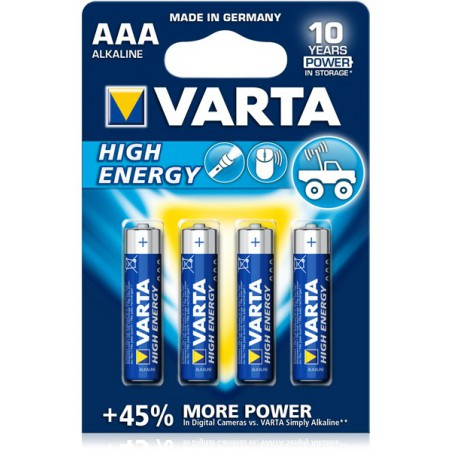 4x Piles AAA Varta High Energy LR03 BP4