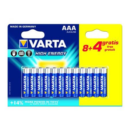 8x Piles AAA Varta High Energy LR03 BP8 + 4 Piles offertes