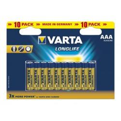 10x Piles AAA Varta LongLife LR03 BP10