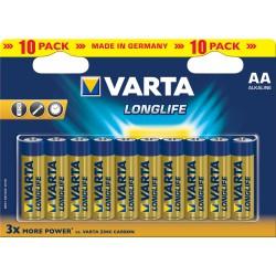 10x Piles AA Varta LongLife LR6 BP10