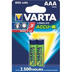 2x Piles Varta Rechargeable Accu AAA 800 mAh