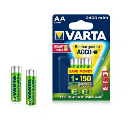 2x Piles Varta Rechargeable Accu AA 2400 mAh LR6 BP2