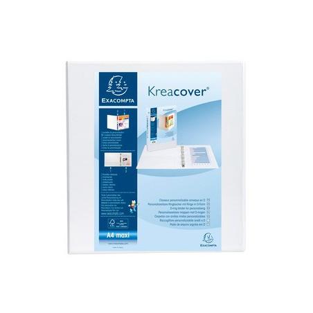 Classeur PP Personnalisable KreaCover 4 anneaux en D 60mm / Blanc
