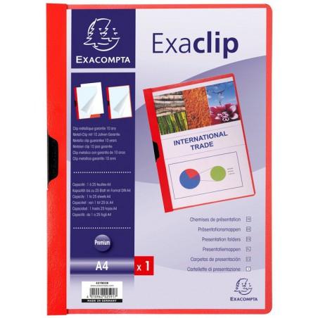 Chemise de présentation PVC ExaClip Dos 3mm - A4 / Rouge