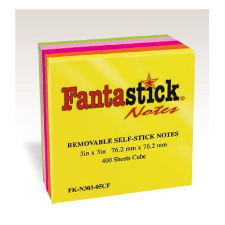 Bloc 400 feuilles notes repositionnables Fantastick 76.2 x 76.2 mm
