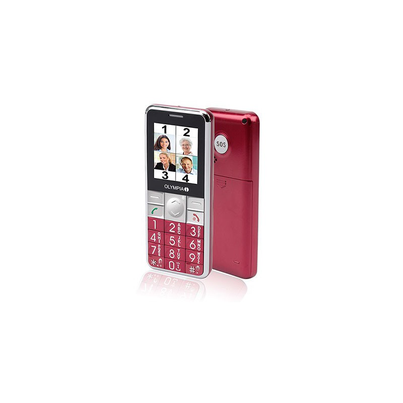 Téléphone Portable OLYMPIA Senior VIVA PLUS / Rouge + SIM Offerte