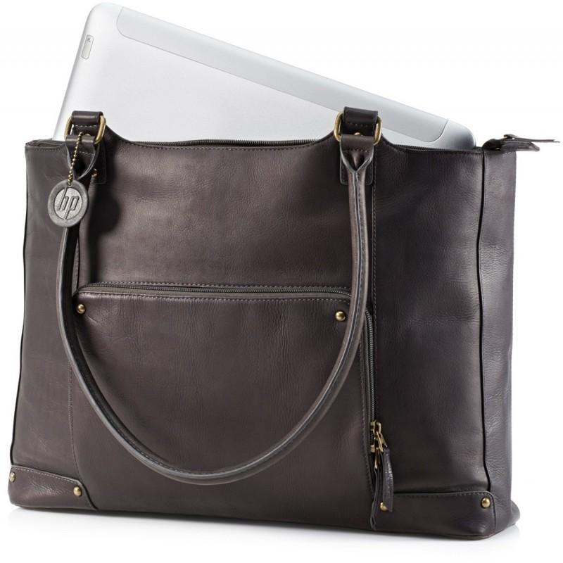 sac hp en cuir marron 15 6 pour femme. Black Bedroom Furniture Sets. Home Design Ideas