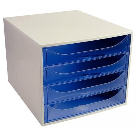 Bloc de 4 Tiroirs Ecobox / Gris & Bleu