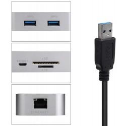 HUB USB 3.0 avec lecteur de cartes SD/TF et Ethernet