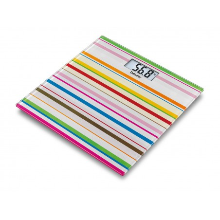 Pèse-personne en verre design Beurer GS 27 Happy Stripes