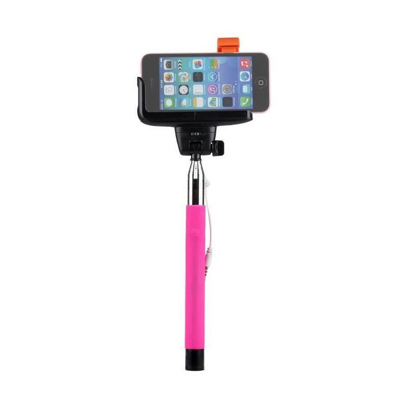 Perche télescopique selfie avec bouton intégré Rose