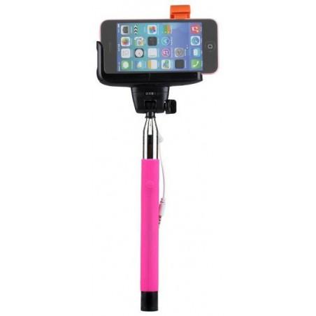 Perche télescopique selfie avec bouton intégré Bleu