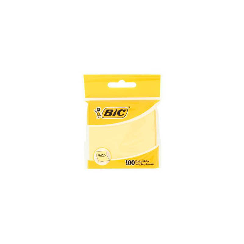 Bloc 100x Notes repositionnables BIC 76x76 mm