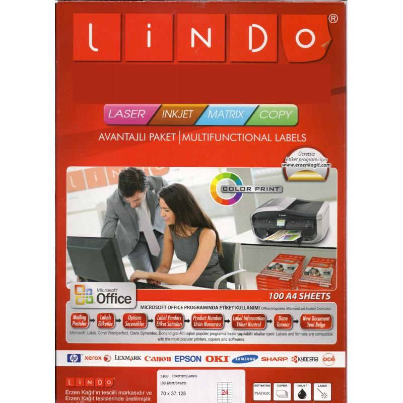 2400x Etiquettes LINDO 100/24E / 70 x 37.125 mm