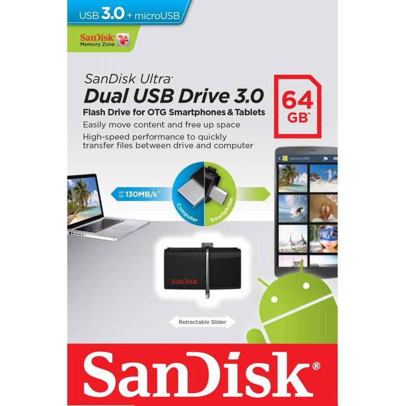 Clé USB SanDisk Dual Ultra USB 3.0 + Micro USB / 64 Go