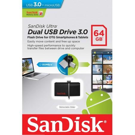 Clé USB SanDisk Dual Ultra USB 3.0 + Micro USB / 32 Go