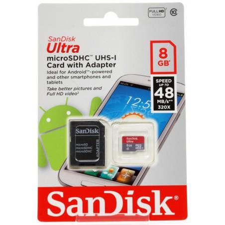 Carte mémoire SanDisk microSDHC Ultra UHS-I 8 Go Class 10 + Adaptateur