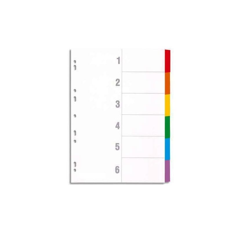 Intercalaire de séparation Format A4 6 positions 1-6