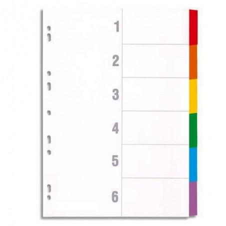 Intercalaire de séparation Format A4 6 couleurs 1-6