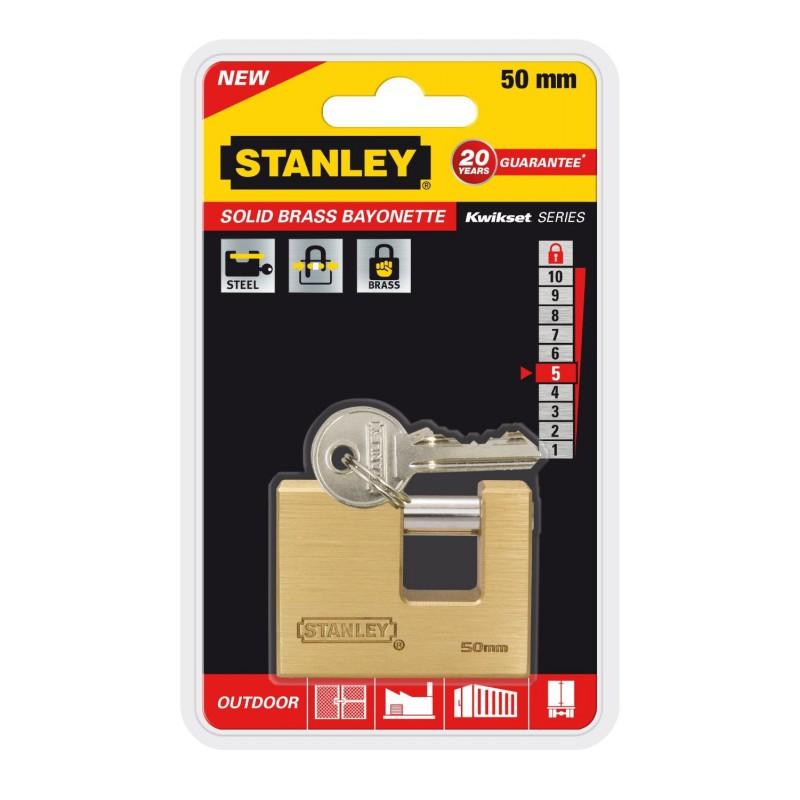 Cadenas à clé en baïonnette Or Stanley / 50mm