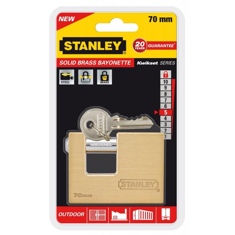 Cadenas à clé en baïonnette Or Stanley / 70mm