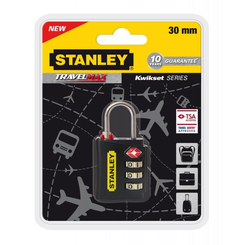 Cadenas à combinaison 3 chiffres avec indicateur TSA Stanley Noir / 30mm