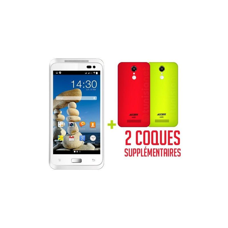 Téléphone Portable Accent A455C / Double SIM / Blanc + SIM Offerte