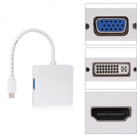 Adaptateur Mini DisplayPort Vers DVI-I Femelle, HDMI Femelle et DisplayPort Femelle