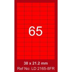 6500x Etiquettes LINDO 100/65E / 38 x 21.2 mm / Rouge Fluo