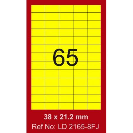6500x Etiquettes LINDO 100/65E / 38 x 21.2 mm / Jaune Fluo