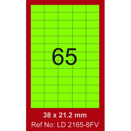 6500x Etiquettes LINDO 100/65E / 38 x 21.2 mm / Vert Fluo