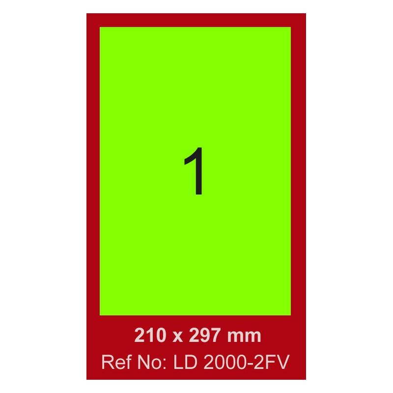 100x Etiquettes LINDO 100/1E / 210 x 297 mm / Vert Fluo