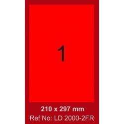 100x Etiquettes LINDO 100/1E / 210 x 297 mm / Rouge Fluo